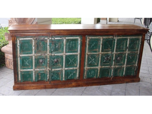 Rustic Green Farmhouse Teak Old Sideboard Console Rustic Buffet Luxury style | free-classifieds-usa.com