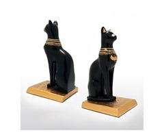 Resin Bastet Cat Bookends in Pair, Black and Gold
