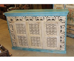 Vintage Sideboard Beautiful Floral Carving Cabinet Chest Buffet Farmhouse Design