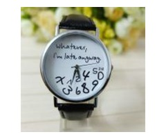 Whatever I am Late Anyway Letter Pattern Leather Women Wristwatch