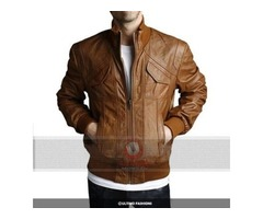Mens 4 Pockets Leather Jacket