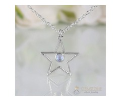 Moonstone Necklace - Moon And Star - GSJ