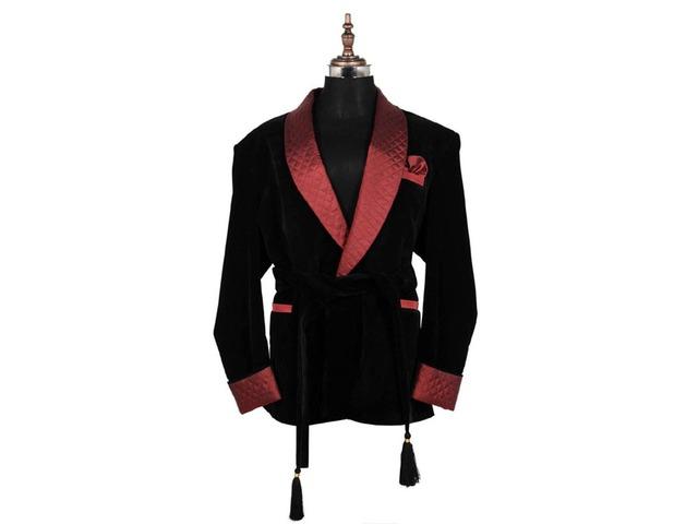 Men Smoking Velvet Jackets Elegant Designer Belted Dinner Party Wear Blazers | free-classifieds-usa.com