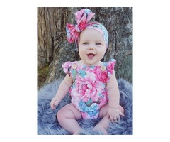 Falbala Floral Sleeveless Baby Girls Jumsuit