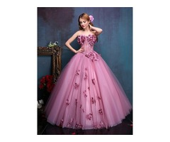 Glomorous Strapless Beading Flowers Ball Gown Dress