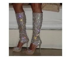 PU Zipper Rhinestone Womens Boots Sandals