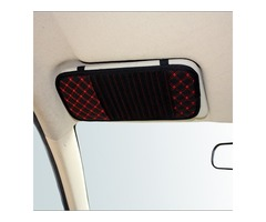 Latticed Car CD Clip Sun Visor CD Holder 13 Discs Storage PU leather