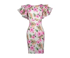 Floral Print Ruffle Sleeve Womens Bodycon Dress