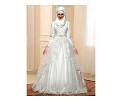 Modest Beaded Lace High Neck Long Sleeve Arabic Wedding Dress