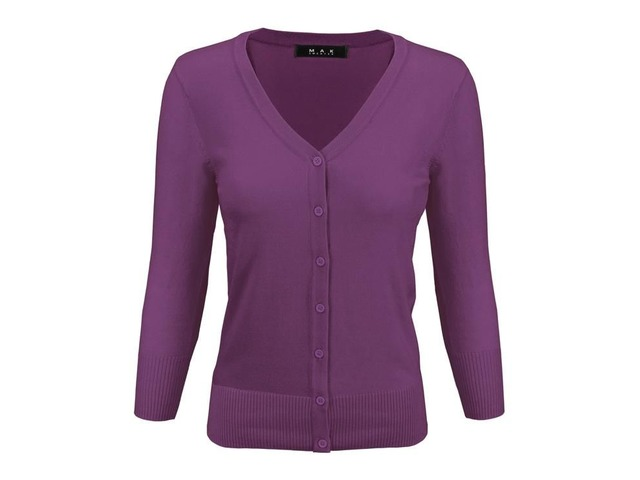 YeMAK Sweater | Women's V-Neck Button Down Knit Cardigan Sweater Vintage CO078PL(1X-3X)PLUS size Opt | free-classifieds-usa.com