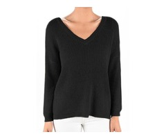 YeMAK Sweater   V-Neck Long Sleeves Back Cutout Casual Loose Knit Pullover Sweater MK8144