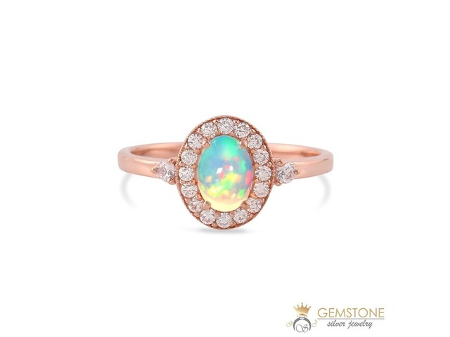 14K ROSE GOLD VERMEIL OPAL RING-GENTLENESS | free-classifieds-usa.com