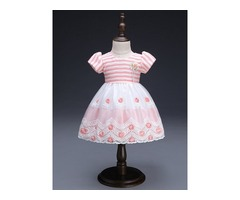 Stripe Floral Embroidery Baby Girls Dress