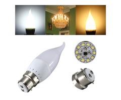 B22 3W White Warm White LED Candle Flame Light Chandelier Bulb AC 220V