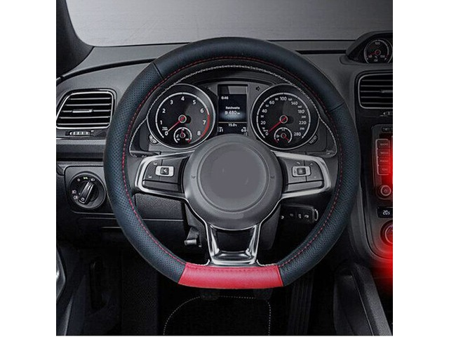 D Type Red Black Universal 38cm Leather Car Steel Ring Wheel Cover | free-classifieds-usa.com