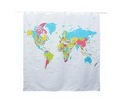 180*180cm World Map Pattern Waterproof Polyester Shower Curtain