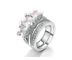 Charming Three Zircon Inlaid E-Plating Ring Set