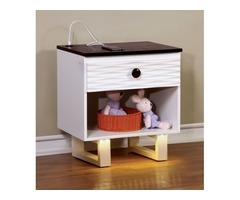 Get Amaya Transitional Style Textured White Youth Nightstand Online