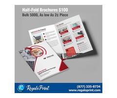 Half-Fold Brochures $100 | Bulk 5000, As low As 2¢ Piece | RegaloPrint.Com