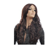 NAVIS Long Curly Matt High-Temperature Synthetic Fiber Hair Wavy Dark Brown Wig