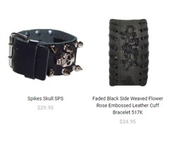 Exclusive Collection of Black Leather Cuff Bands On sale