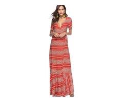 Tidebuy Color Block Pullover V-neck Print Womens Maxi Dress