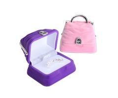 Mini Velvet Jewelry Holder Earring Ring Handbag Box Case