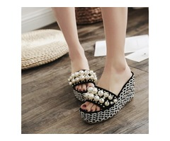 Suede Fabric Beads Rhinestone Womens Wedge Sandals