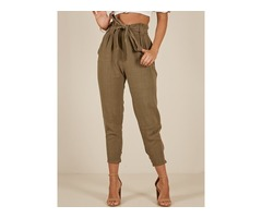 High Waist Solid Color Womens Casual Pants