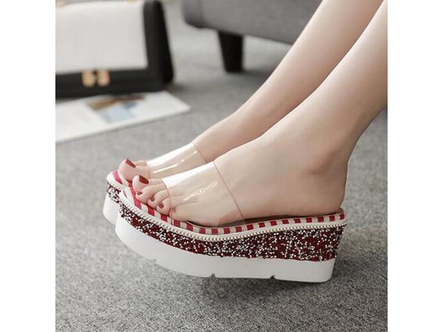 PVC Flip Flop Wedge Heel Womens Slide Sandals | free-classifieds-usa.com