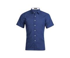 Tidebuy Lapel Short Sleeve Mens Plain Shirt
