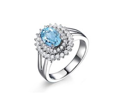 2ct Oval Cut Double Halo Natural Blue Topaz Ring 925 Sterling Silver Topaz Stone Engagement Rings