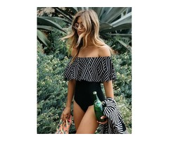 Off the Shoulder Frill Geometric Striped One Piece Bathing Suit Bikini