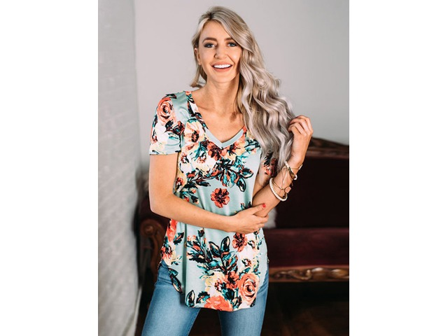 Floral Print Tops T Shirt Tee Blouse | free-classifieds-usa.com