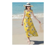 Tidebuy Round Neck Print Floral Womens Maxi Dress