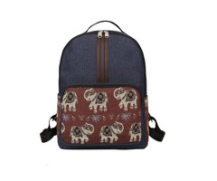 Color Block Canvas Backpack