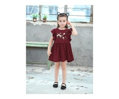 Embroidery Cap Sleeve Floral Girls Dress