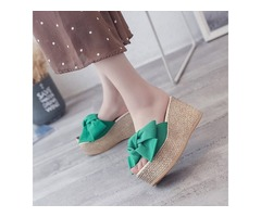 Bow Wedge Heel Womens Slide Sandals
