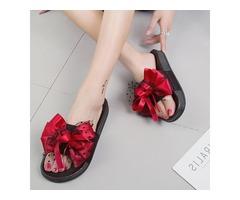 PU Comfortable Bow Platform Slip-On Slide Sandals