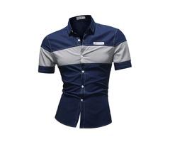 Tidebuy Short Sleeve Color Block Patchwork Mens Shirt