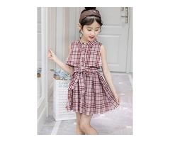 Sleeveless Plaid Color Block Girls Dress