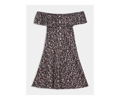 Off Shoulder Single-Breasted Womens Day Dress