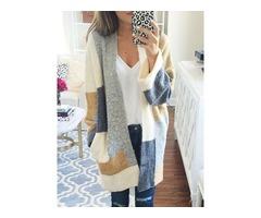 Color Block Cardigan Womens Knitwear