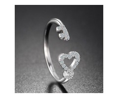 Sterling Silver Key to Her Heart Ring