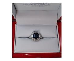Blue Emerald Platinum Sapphire Ring