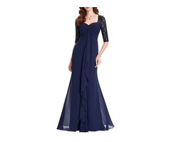 Half Sleeves Sheath Long Mother Of The Bride Dress
