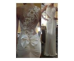 Sheer Neck Beaded Pearls Back Sheath Wedding Dress