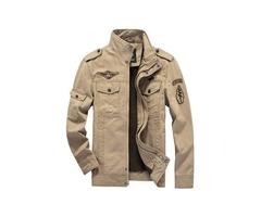 Tidebuy Plain Stand Collar Zipper Mens Jacket