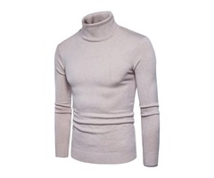 Solid Color High Collar Slim Warm Cotton Mens Sweater