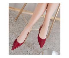 PU Pointed Toe Slip-On Slingback Womens Flats